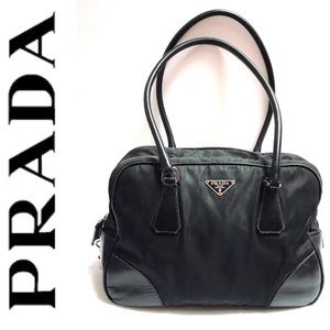 PRADA Nylon Black Bowling Bag Double Strap Handbag
